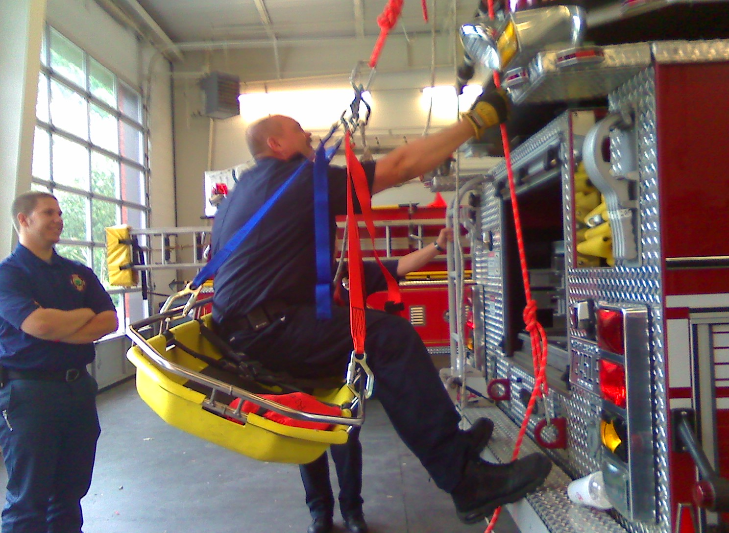 fire dept training with patient basket