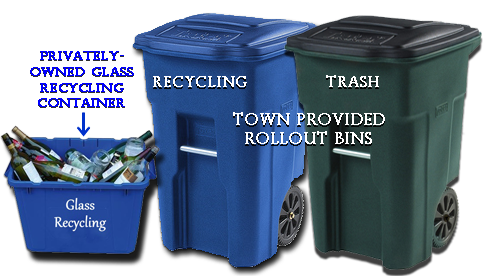three recycle/trash bins