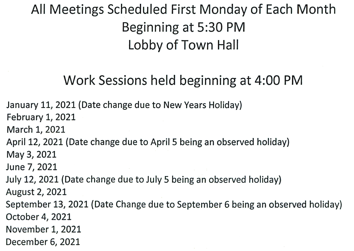 town council meetings 2021
