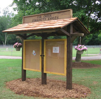 Cub Creek Park Community Garden kiosk